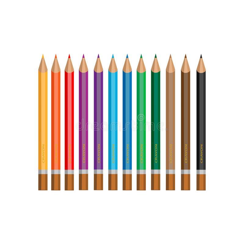 Crayons multicolores réglés d'isolement sur le fond blanc illustration libre de droits