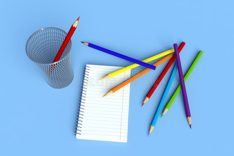 Download Crayons and notebook stock illustration. Image of equipment - 25766040