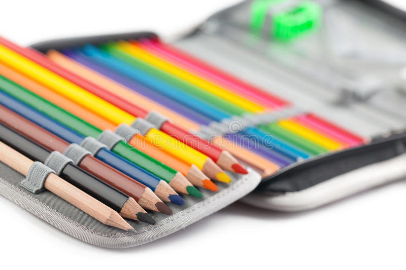 Crayons in pencil box stock images