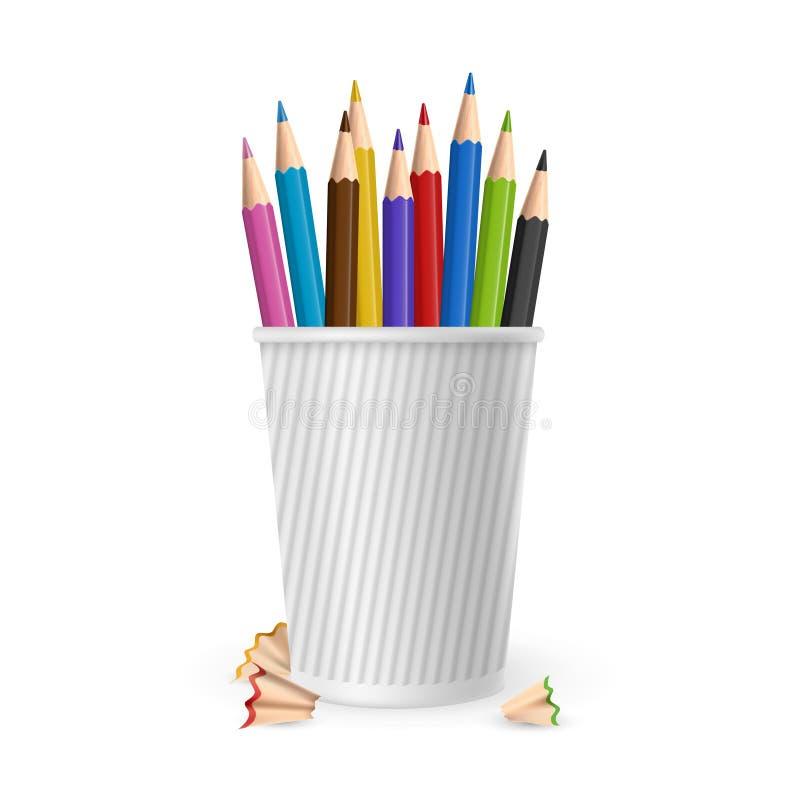 Crayons réalistes de couleur de vecteur en verre d'isolement sur le fond blanc illustration libre de droits