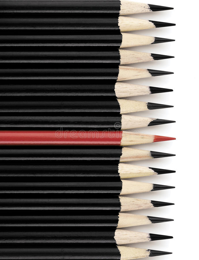Crayons rouges et noirs photographie stock