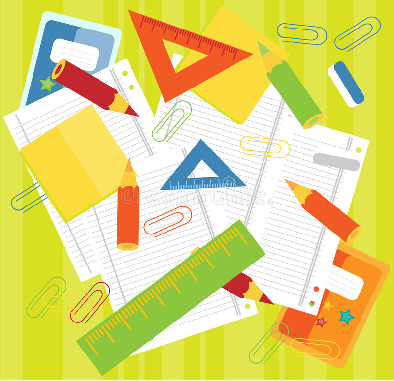 Crayons, rulers, papers. Colorful crayons, rulers, papers on green background