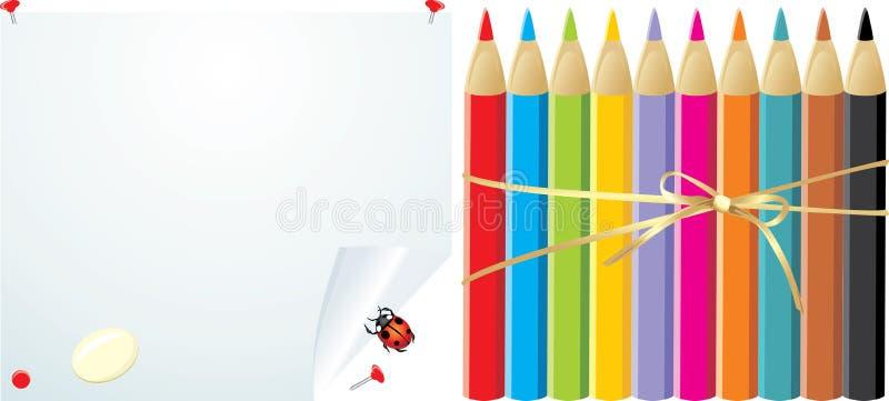 Crayons sur le papier compliqué avec l'élastique illustration libre de droits