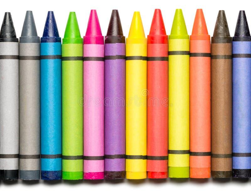 crayons vaxr white royaltyfri fotografi