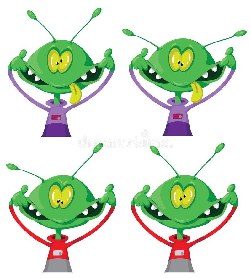 Download Crazy alien set stock vector. Image of fiction, grimace - 23727871