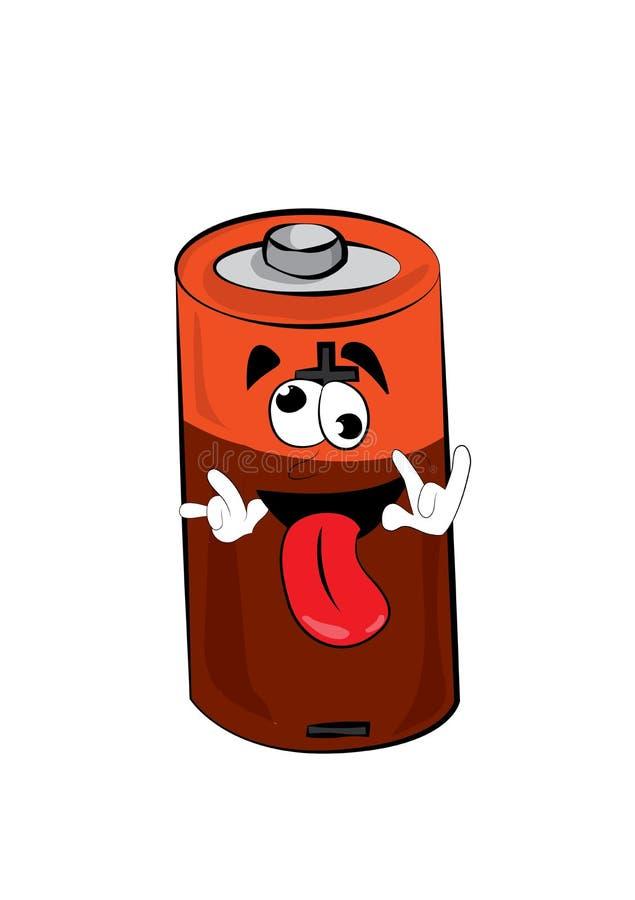 Crazy battery cartoon royalty free illustration