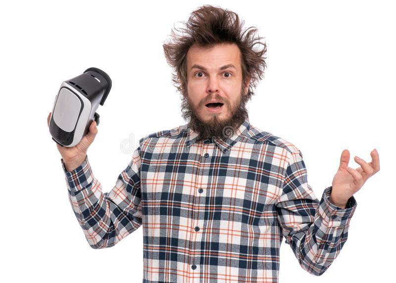 Crazy bearded man with VR goggles stock photo