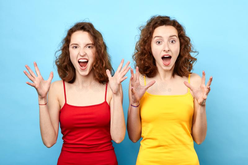 Crazy beautiful two sisters with wide open mouth raised arms shouting, screaming royalty free stock photo