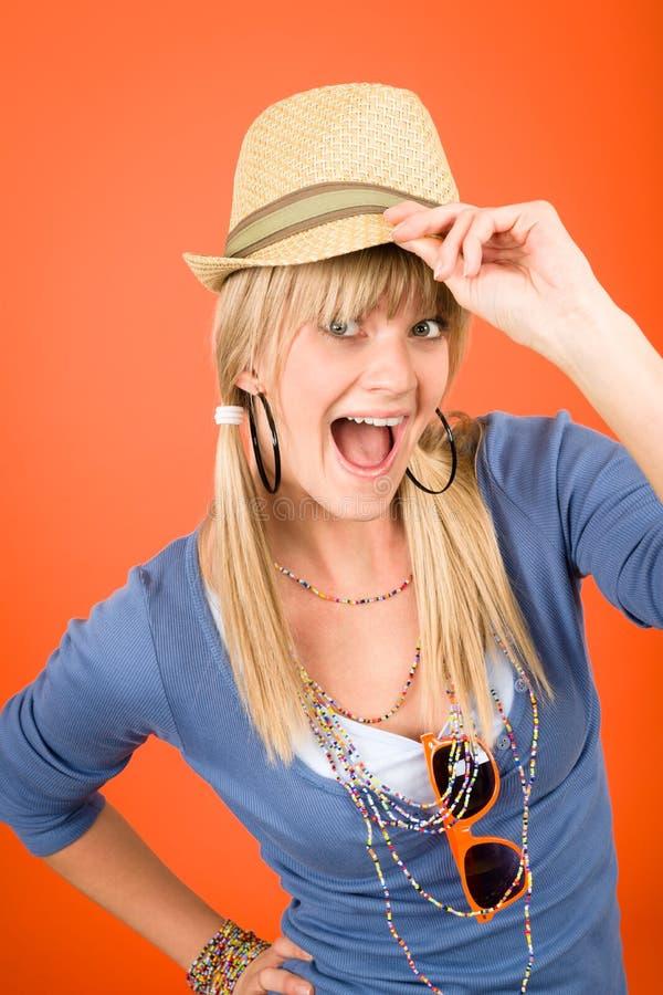 Download Crazy Blond Girl Wear Hat Shouting Stock Image - Image: 23572421