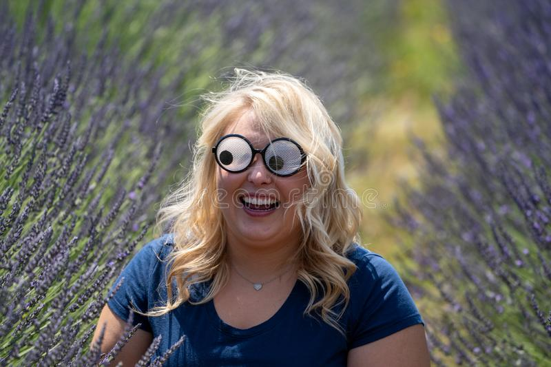 Crazy Blonde woman wearing googly eyes novelty sunglasses while sitting in a field of lavender, looking to left.  stock photos