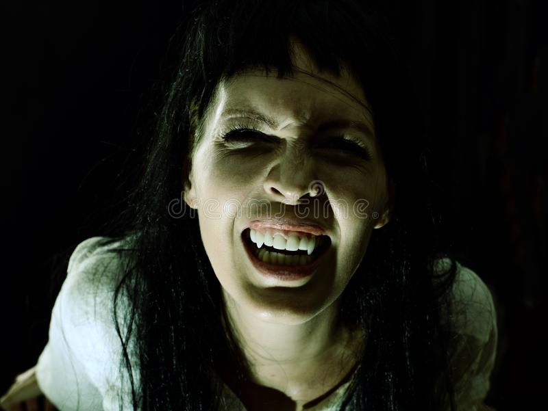 Crazy bloody scary vampire girl with fangs. Halloween horror. Crazy bloody scary vampire girl with fangs screaming on black background royalty free stock images