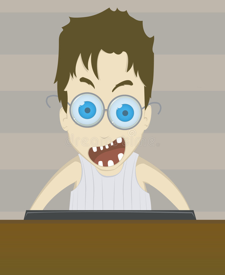 Download Crazy boy stock illustration. Image of brown, gamer, computer - 5565493