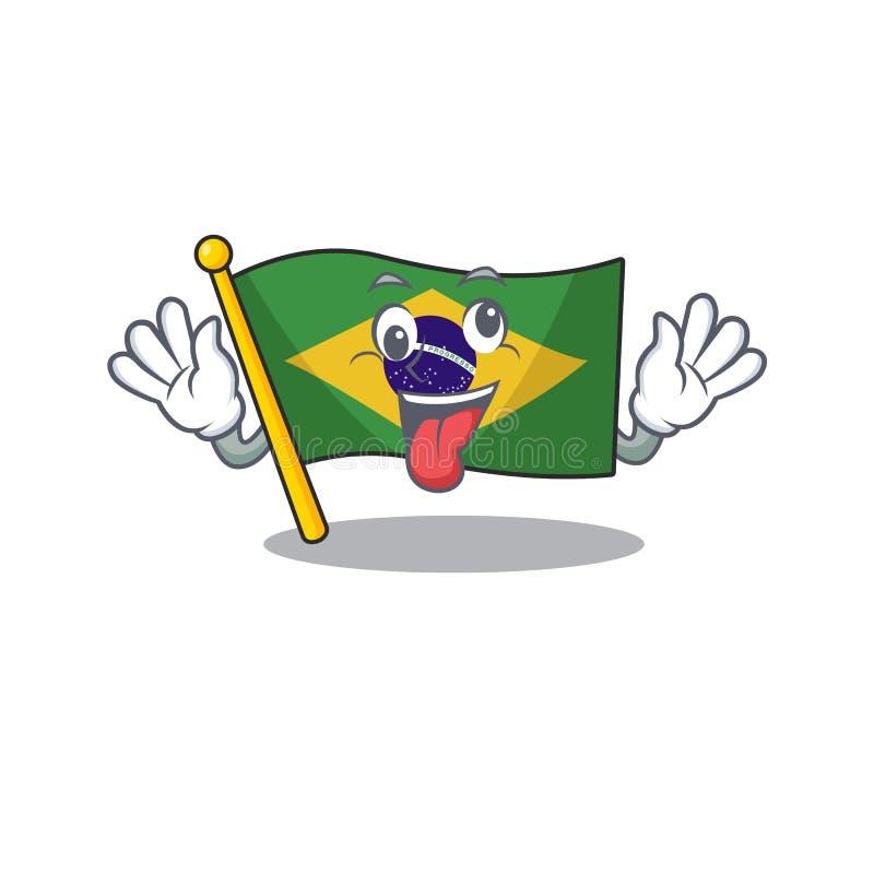 Crazy brazil flag kept in mascot drawer. Illustration vector vector illustration