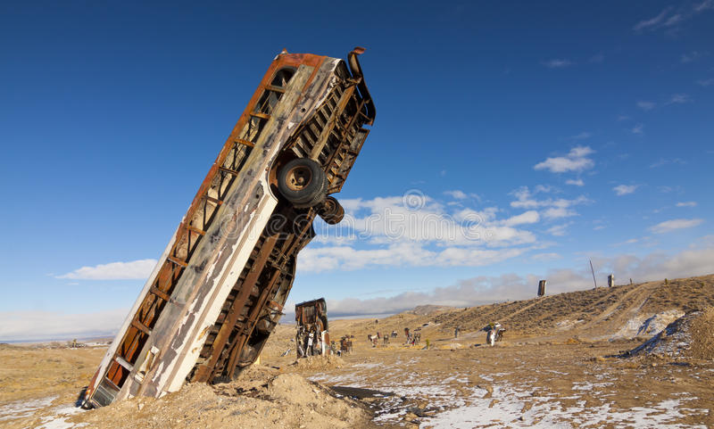 Crazy Buried Bus stock photo