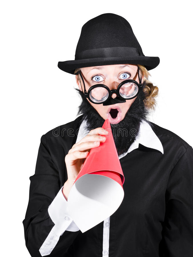 Download Crazy Businessman Making Megaphone Announcement Stock Photo - Image: 36456506
