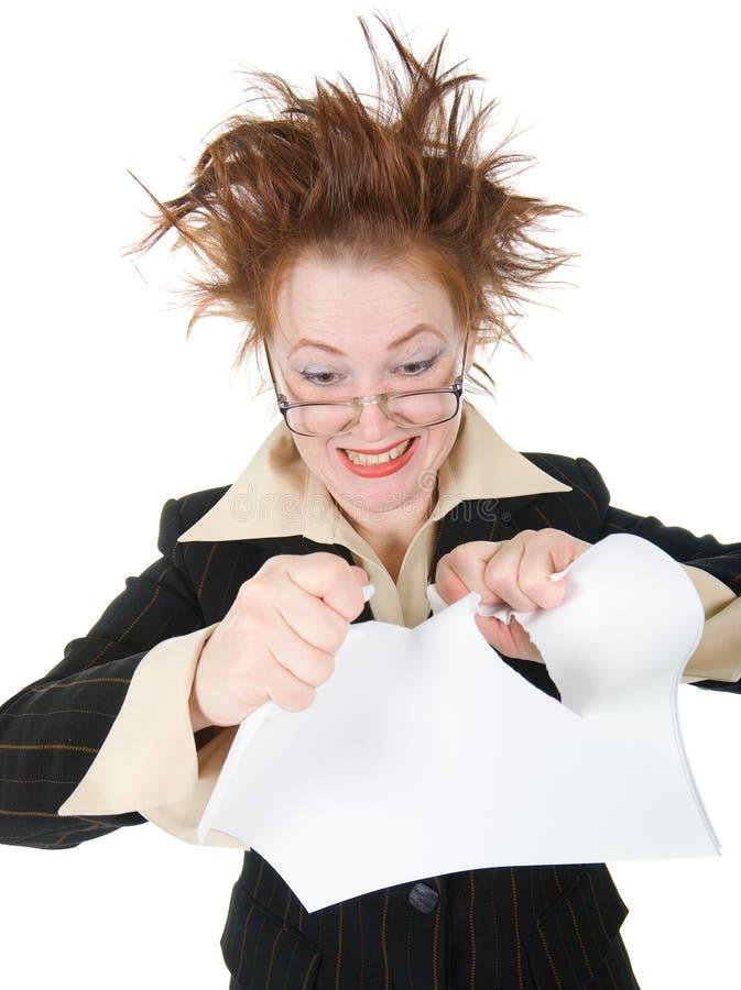 Download Crazy Businesswoman Breaks Contract . Stock Photos - Image: 14543793