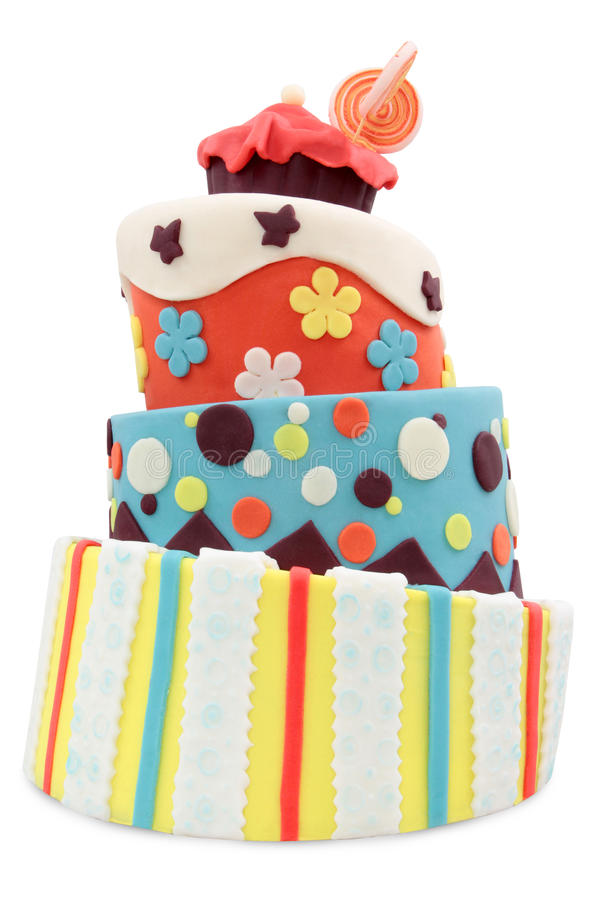 Crazy cake. Decorated with fondant - isolated on white background royalty free stock photos