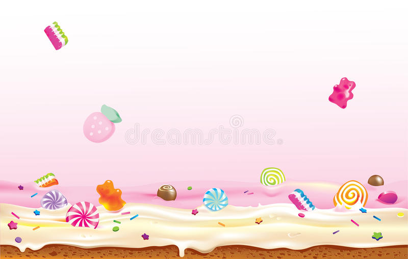 Crazy candies. Vector illustration of candies falling down to cream stock illustration
