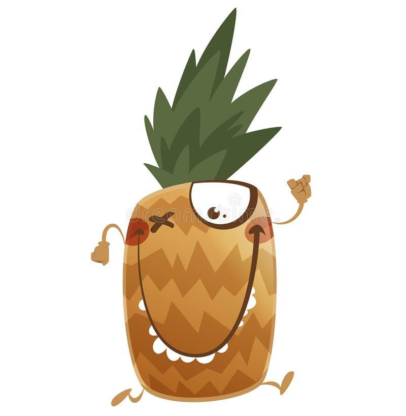 Crazy cartoon brown pineapple fruit character running vector illustration