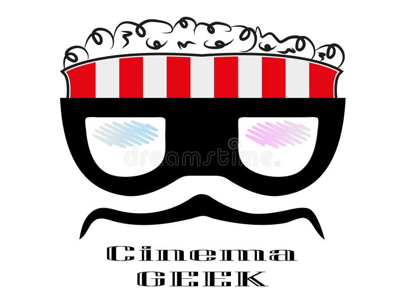 crazy cartoon geek character popcorn box cinema logo stock illustration