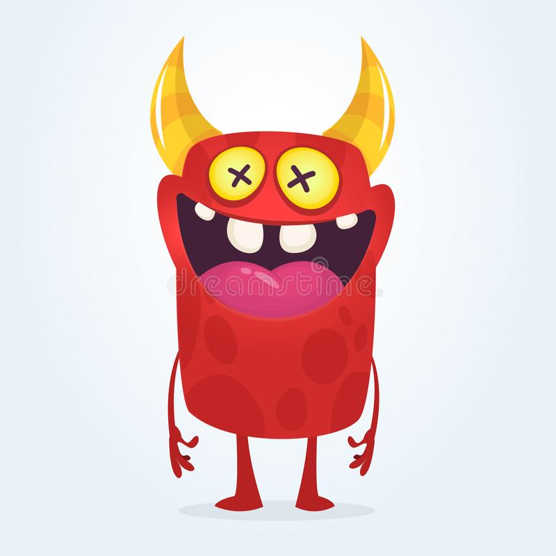 Crazy cartoon monster with dead eyes. Halloween illustration stock illustration