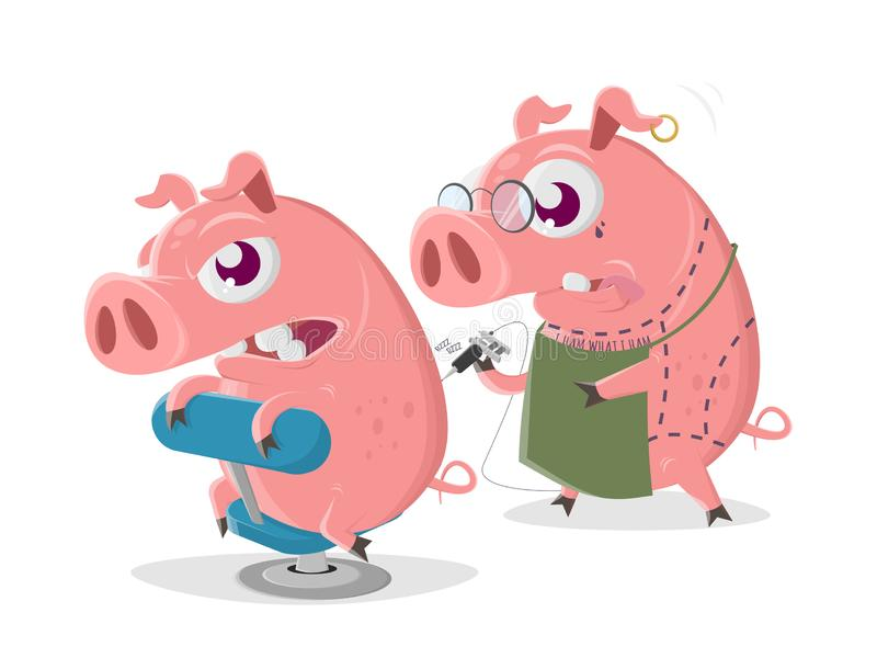 Crazy cartoon pig is getting a tattoo vector illustration