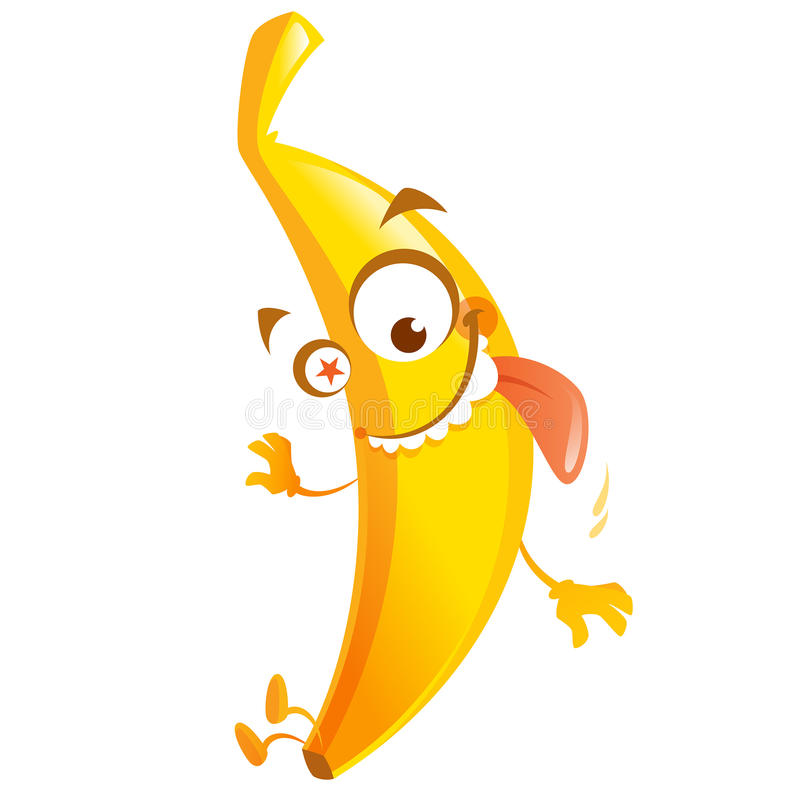 Crazy cartoon yellow banana fruit character go bananas. Crazy cartoon yellow banana fruit character with star eye jumping going bananas vector illustration