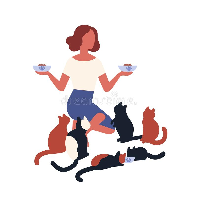 Crazy cat lady feeding her pets. Young woman holding feeders with food for her domestic animals. Funny cartoon stock illustration