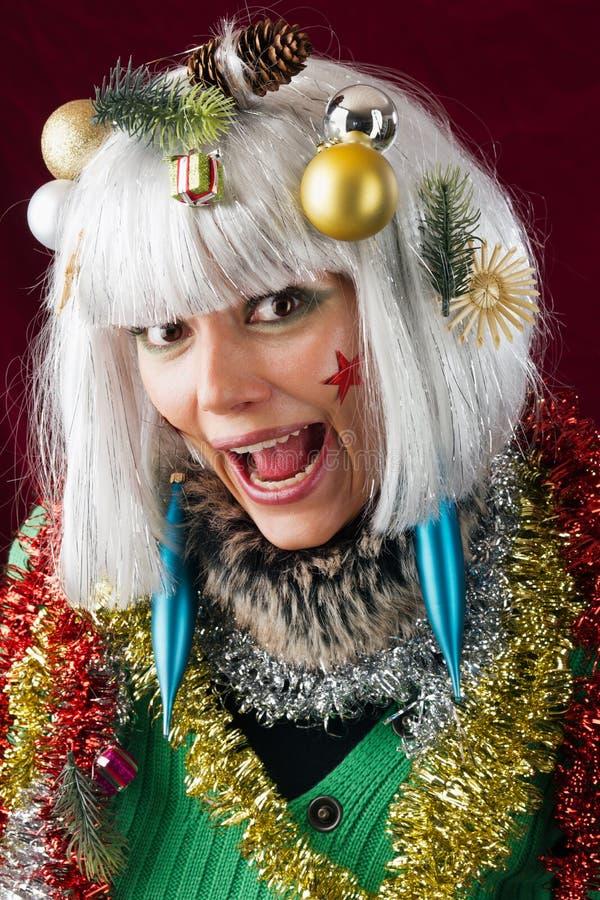 Crazy Christmas Woman royalty free stock image
