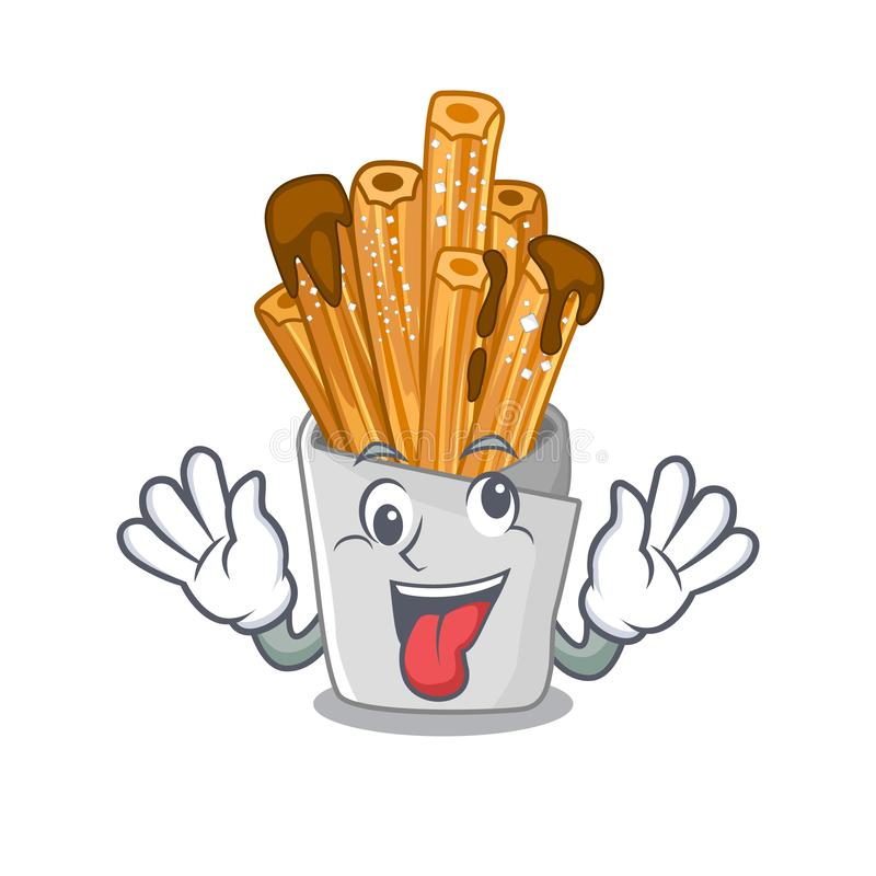 Crazy churros in the wooden character jar. Vector illustration stock illustration
