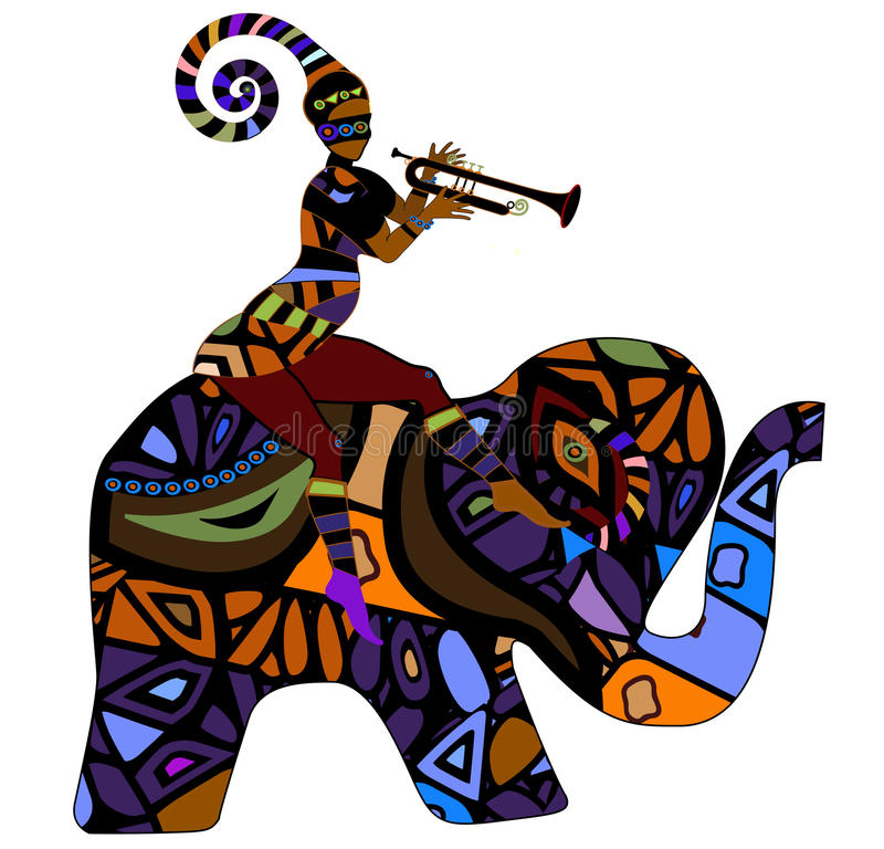 Crazy Circus. People sitting on the back of an elephant in ethnic style royalty free illustration