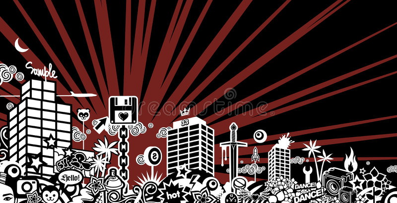 Crazy city. (illustration, background, vector, design