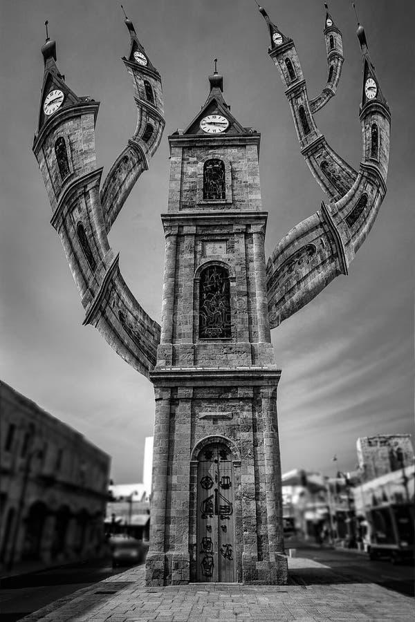 The Crazy Clock in Jaffa stock photos