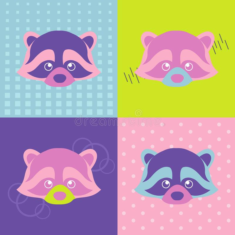 Crazy colorful pop-art portrait of cute raccoon stock illustration