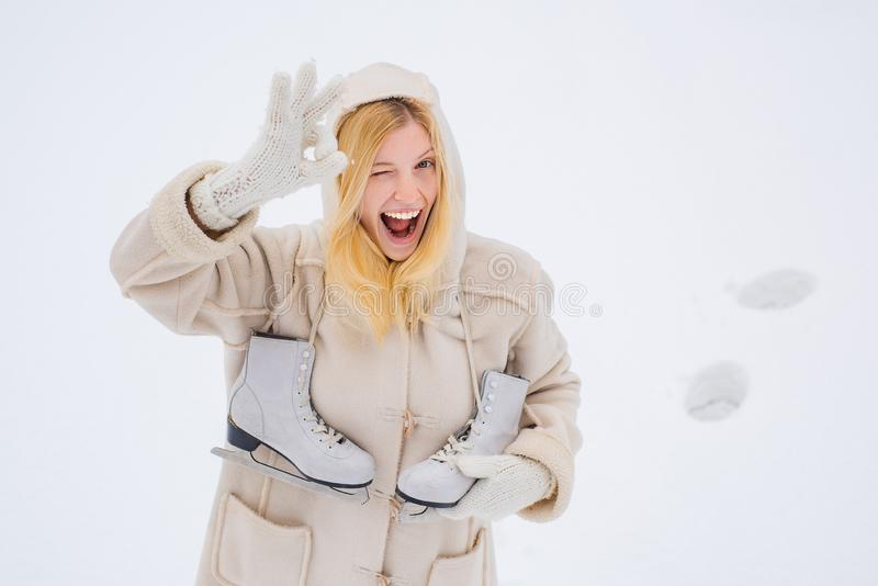 Crazy comical face show OK. Love winter. Funny smiling Winter woman portrait outdoor. Beauty Joyful Model Girl laughing royalty free stock photos