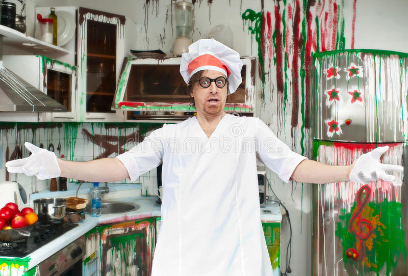 Download Crazy cook stock image. Image of person, bizarre, painted - 30032465