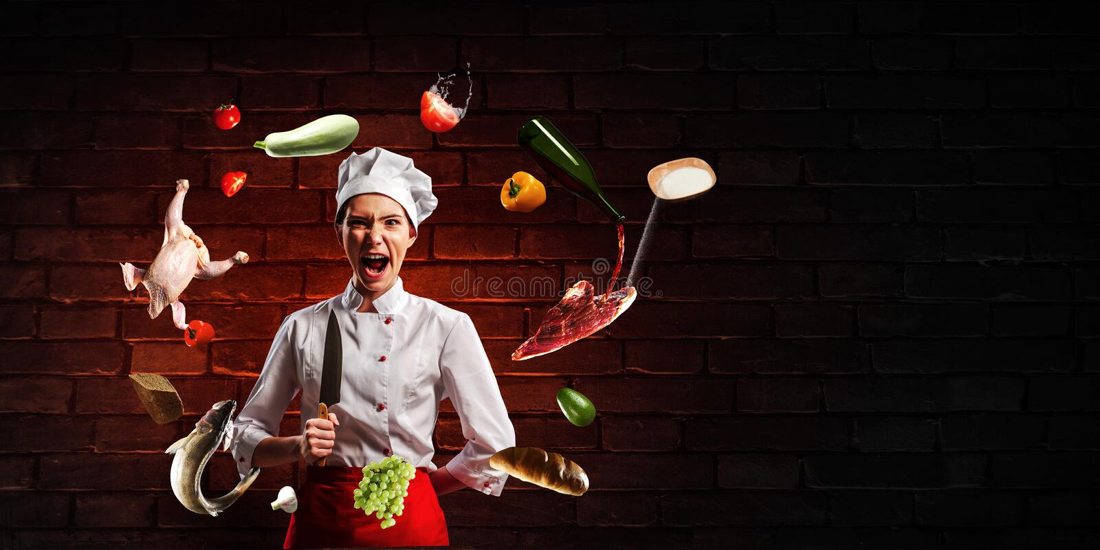 He is crazy about cooking. Mixed media stock photography