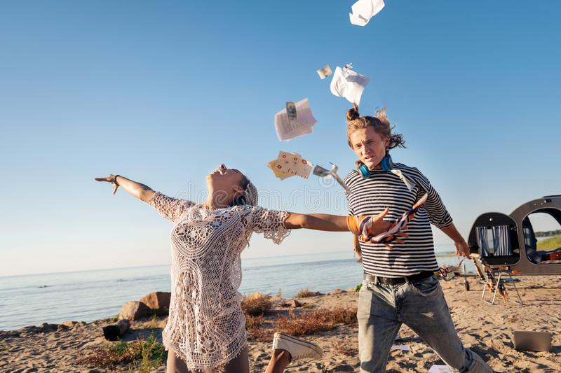 Crazy couple feeling excited while deciding to travel all around the world stock photos