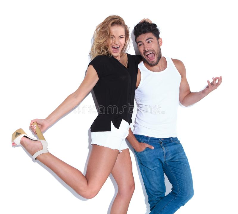 Crazy couple having fun together, royalty free stock image