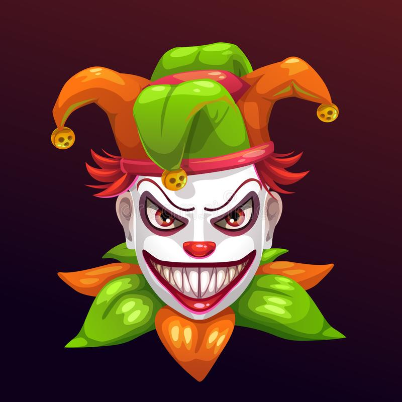 Crazy creepy joker face stock illustration