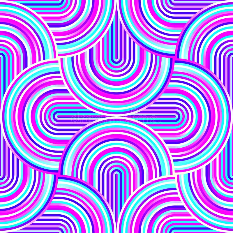 Crazy curves - tangled geometric pattern with bright pink and blue colors stock illustration