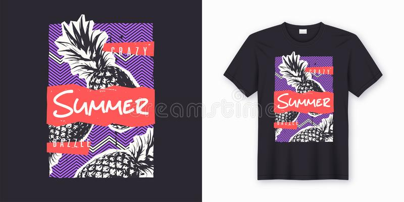 Crazy dazzle summer. Stylish graphic tee design, poster, print with pineapple. royalty free illustration