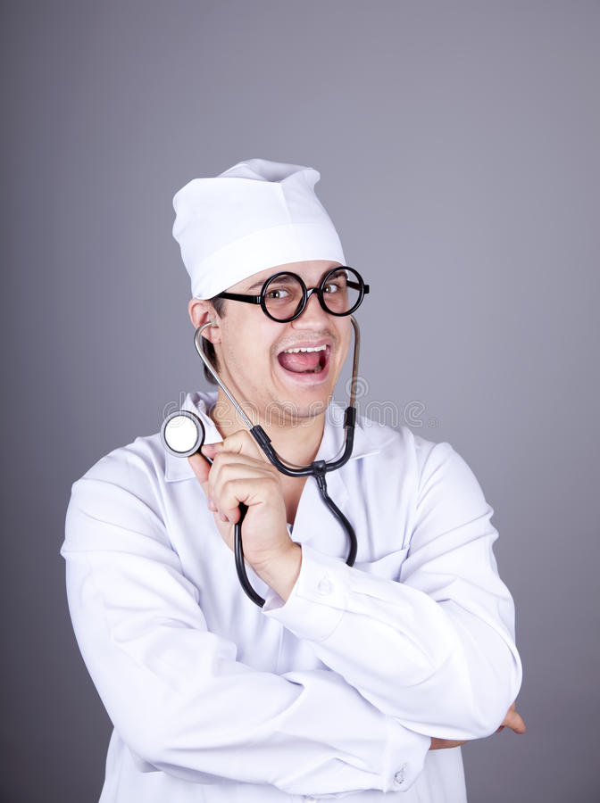 Crazy Doctor With A Stethoscope. Royalty Free Stock Images