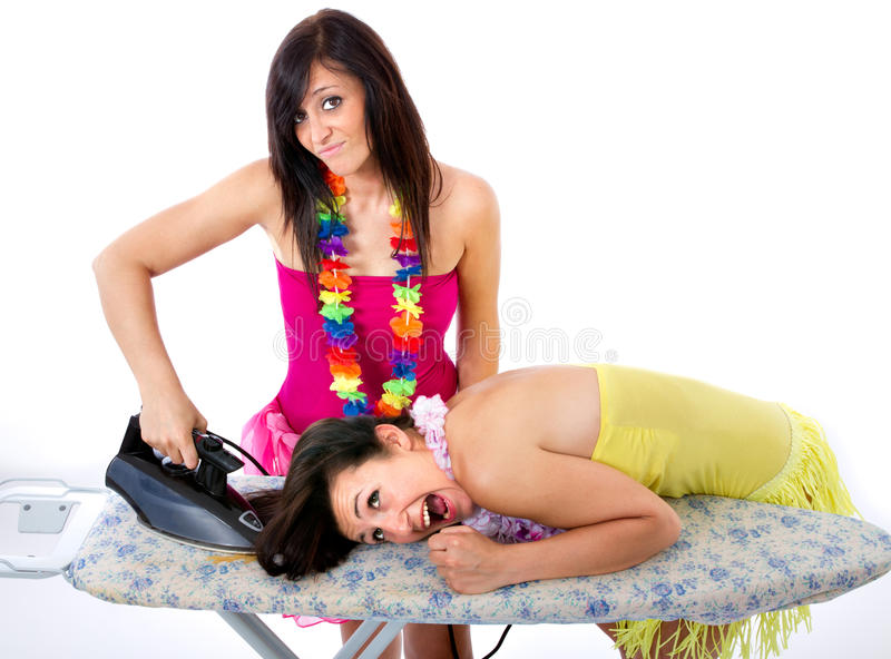 Crazy dresser cut in housewife life. White background stock photos