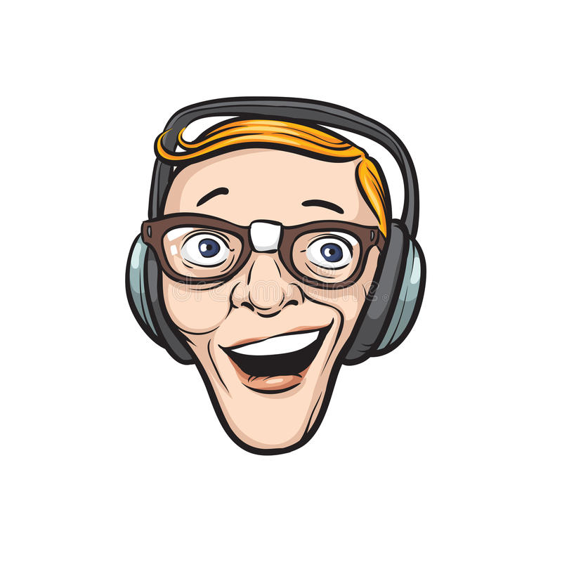 Crazy face with headphones stock illustration