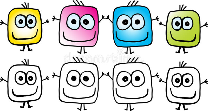 Crazy figures. Crazy isolated different smile figures. vector image royalty free illustration