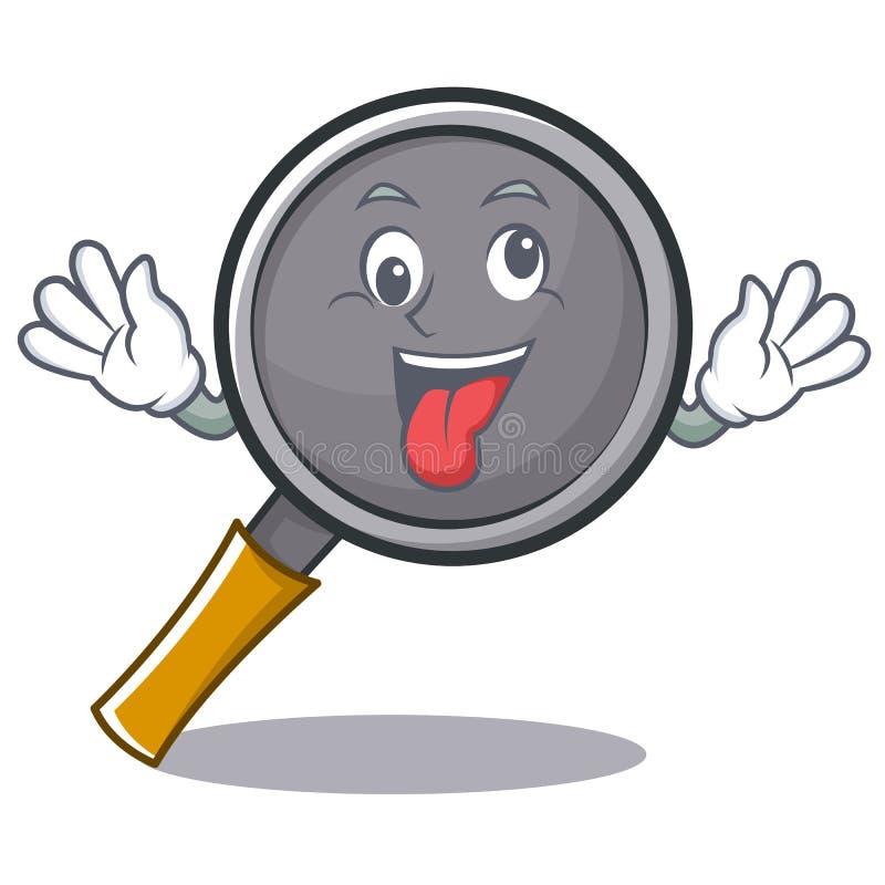 Crazy frying pan cartoon character. Vector illustration stock illustration
