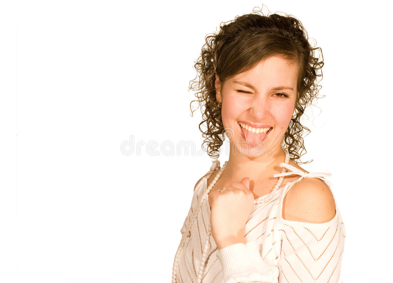Crazy fun girl stock photo