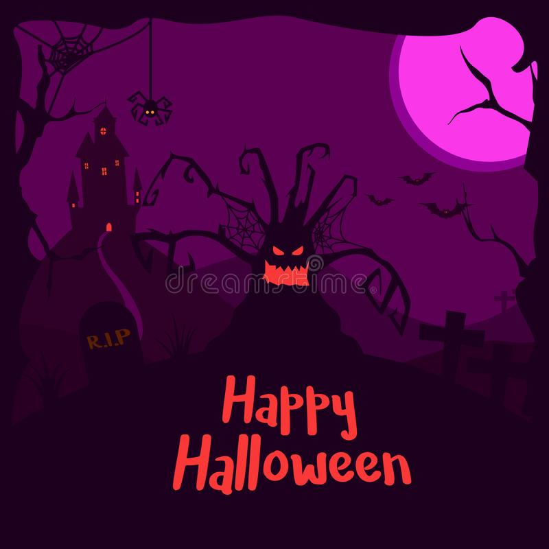 Crazy fun and spooky vector illustration. Happy halloween!. Vector eps 10 vector illustration
