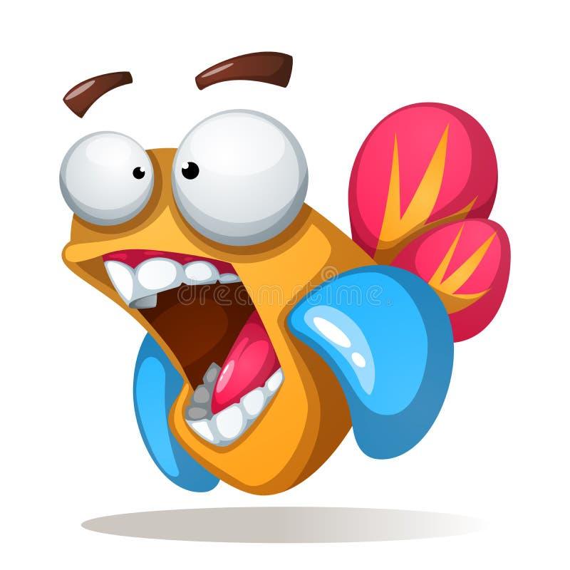 Crazy, funne, cute cartoon fish. vector illustration